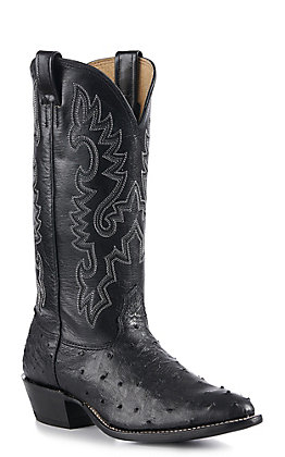 Cavender's Men's Black Full Quill Ostrich Exotic Traditional Toe Western Boots