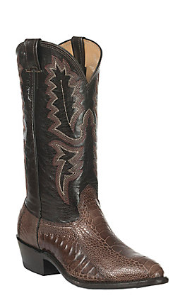 Cavender's Men's Brown Ostrich Leg Exotic Traditional Toe Western Boots