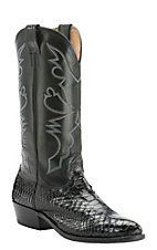 Cavender's Men's Black Python Exotic Traditional Toe Western Boots