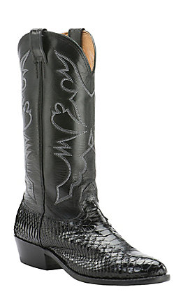 Cavender's Men's Black Python Traditional Toe Exotic Western Boots