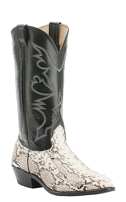 c55ce65c5e9 Cavender's Men's Natural Python Exotic Traditional Toe Western Boots