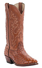 Cavender's Men's Peanut Brittle Full Quill Ostrich Exotic Traditional Toe Western Boots