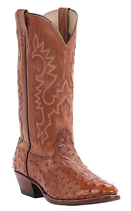 Cavender's Men's Peanut Brittle Full Quill Ostrich R-Toe Exotic Western Boot