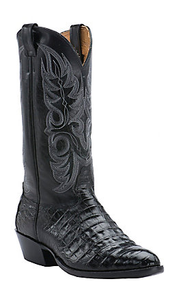 Cavender's Men's Black Caiman Belly Traditional Toe Exotic Western Boots