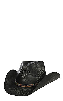 Scala by Dorfman Pacific Black Bangora Vented Straw Fashion Cowboy Hat S/M