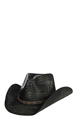 Scala by Dorfman Pacific Black Bangora Vented Straw Fashion Cowboy Hat L/XL