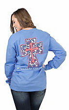 Southern Couture Women's Carolina Blue with Paisley Print Cross Screen Print Long Sleeve T-Shirt
