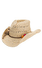 Dorfman Pacific Children's Natural Straw with Color Beads Hat