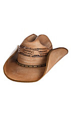 Scala by Dorfman Pacific Tan Bangora Vented Straw Fashion Cowboy Hat S/M