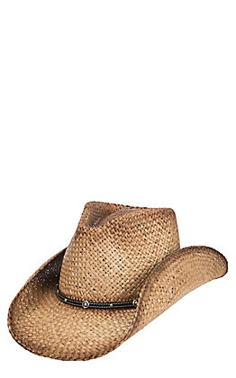 Scala by Dorfman Pacific Tan Raffia Vented Straw Fashion Cowboy Hat S/M