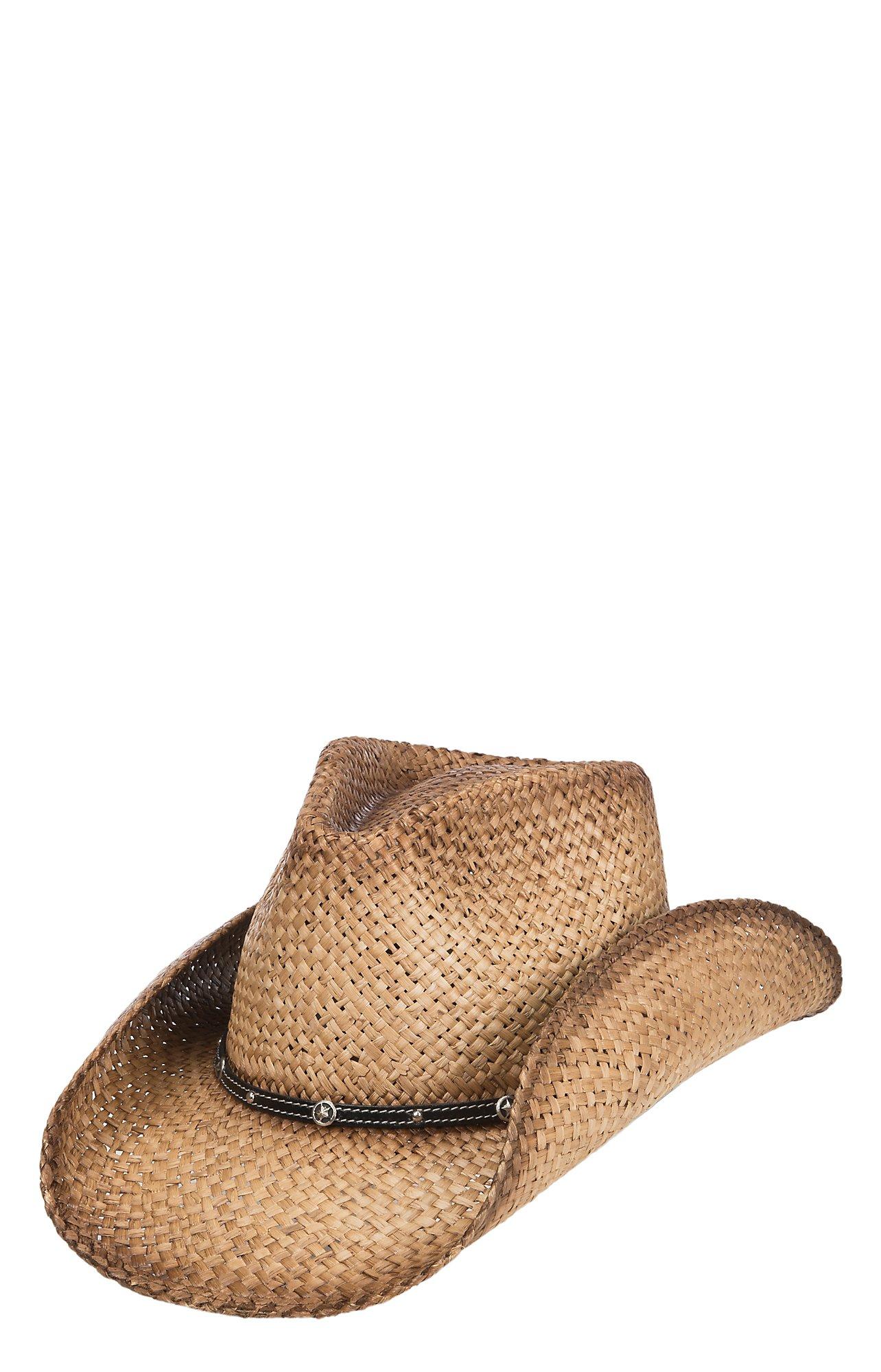 Scala By Dorfman Pacific Tan Raffia Vented Straw Fashion Cowboy Hat