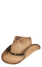 Scala by Dorfman Pacific Tan Raffia Vented Straw Fashion Cowboy Hat L/XL