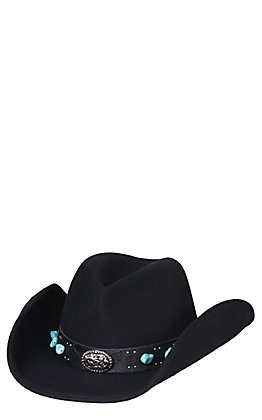 Scala by Dorfman Pacific Black Crushable Wool Turquoise Stone Band Cowboy Fashion Hat