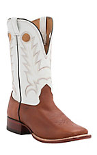 Cavender's Men's Brown with White Top Double Welt Square Toe Western Boots