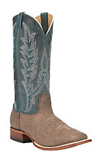 Cavender's Men's Khaki Shrunken Bison with Navy Blue Goat Upper Western Square Toe Boots