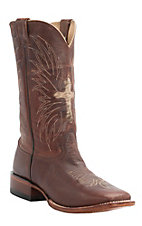 Cavender's Men's Mustang Brown with Cowhide Cross Double Welt Square Toe Western Boots