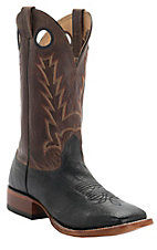 Cavender's Men's Black Smooth Ostrich with Brown Top Double Welt Square Toe Western Boots