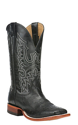 Cavender's Men's Black Smooth Ostrich with Black Puma Exotic Square Toe Boots