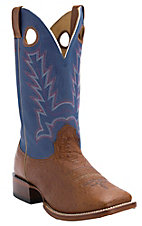 XKH Cavender's Men's Peanut Brittle Smooth Ostrich w/Blue Top Double Welt Square Toe Western Boots