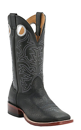 Cavender's Men's Black Twisted Bull Hide Double Welt Square Toe Western Boots