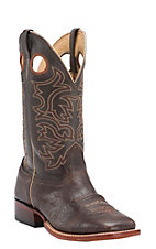 Cavender's Men's Chocolate Twisted Bull Hide Double Welt Square Toe Western Boots