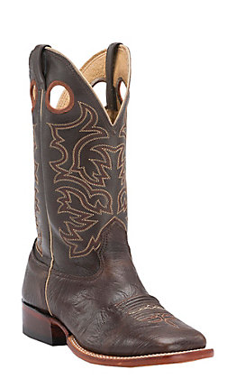 Cavender's Men's Chocolate Twisted Bullhide Wide Square Toe Western Boots