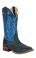 Cavender's Men's Black Twisted Bull Hide with Blue Top Double Welt Square Toe Western Boots