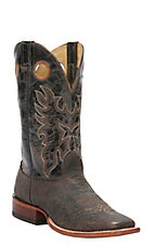 Cavender's Men's Chocolate Rugged Bull Hide Double Welt Square Toe Western Boots