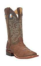 Cavender's Men's Antique Brown with Dark Rugged Tan Goat Upper Western Square Toe Boots