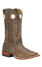 Cavender's Men's Dino Tan with Dark Rugged Tan Upper Western Square Toe Boots