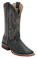 Cavenders Mens Black Full Quill Ostrich Double Welt Exotic Square Toe Western Boots