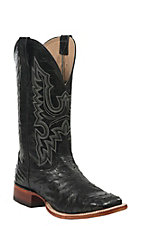 Cavender's Men's Black Full Quill Ostrich Double Welt Square Toe Exotic Western Boots