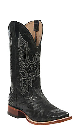 Cavender's Men's Black Full Quill Ostrich Wide Square Toe Exotic Western Boots