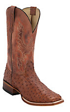 Cavender's Men's Peanut Rust Full Quill Ostrich Double Welt Exotic Square Toe Western Boots