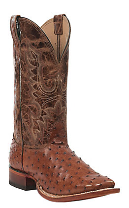 Cavender's Men's Peanut Brittle Full Quill Ostrich Wide Square Toe Exotic Western Boots