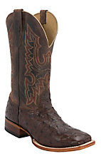 Cavender's Men's Kango Tobacco Rustic Full Quill Ostrich Double Welt Square Toe Exotic Western Boots