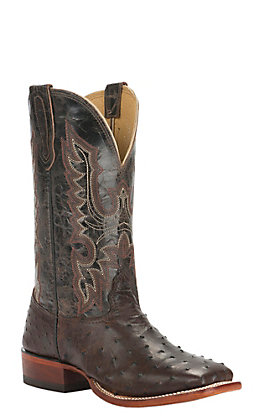 Cavender's Men's Kango Tobacco and Chocolate Full Quill Ostrich Wide Square Toe Exotic Western Boot