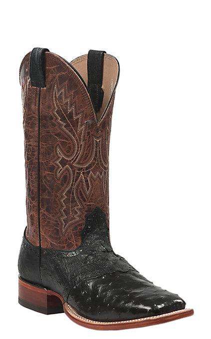 9f3666e9ea3 Cavender's Men's Black Full Quill Ostrich with Tan Top Saddle Vamp Double  Welt Square Toe Exotic Western Boots