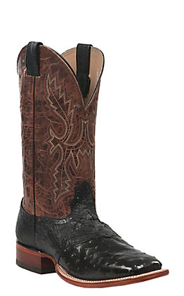 Cavender's Men's Black Full Quill Ostrich Square Toe Exotic Western Boots