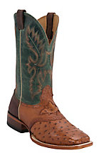 Cavender's Men's Peanut Full Quill Ostrich w/ Green Top Saddle Vamp Double Welt Square Toe Exotic Western Boots