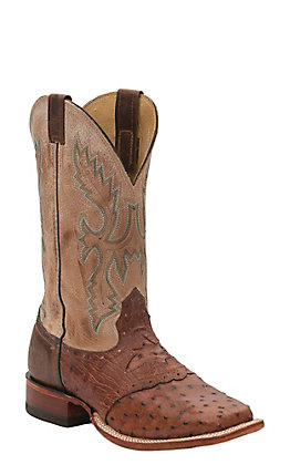 Cavender's Men's Cognac Full Quill Ostrich with Bone Top Saddle Vamp Double Welt Square Toe Exotic Western Boots