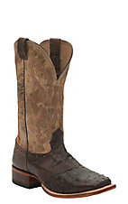 Cavender's Men's Kango Dark Chocolate Full Quill Ostrich w/ Tan Top Saddle Vamp Double Welt Square Toe Exotic Western Boots