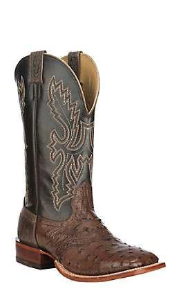 Cavender's Men's Kango Tobacco and Nicotine Full Quill Ostrich Wide Square Toe Exotic Western Boot