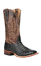 Cavender's Men's Caiman Black with Cognac Upper Exotic Square Toe Boots