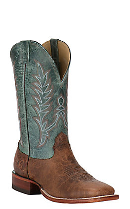 Cavender's Men's Antique Cognac and Turquoise Leather Square Toe Western Boots