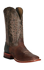 Cavender's Men's Cognac and Dark Olive Square Toe Western Boot