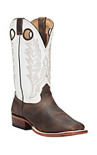 Cavender's Men's Chocolate Rowdy with White Top Double Welt Square Toe Western Boots