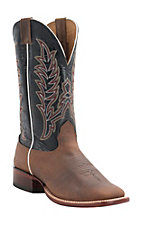 Cavender's Men's Rowdy Natural Bison with Black Top Double Welt Square Toe Western Boots