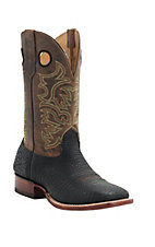 Cavender's Men's Black Shrunked Bull Hide Double Welt Square Toe Western Boots