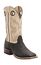 Cavender's Men's Chocolate Shrunken Bison with Bone Double Welt Square Toe Western Boots